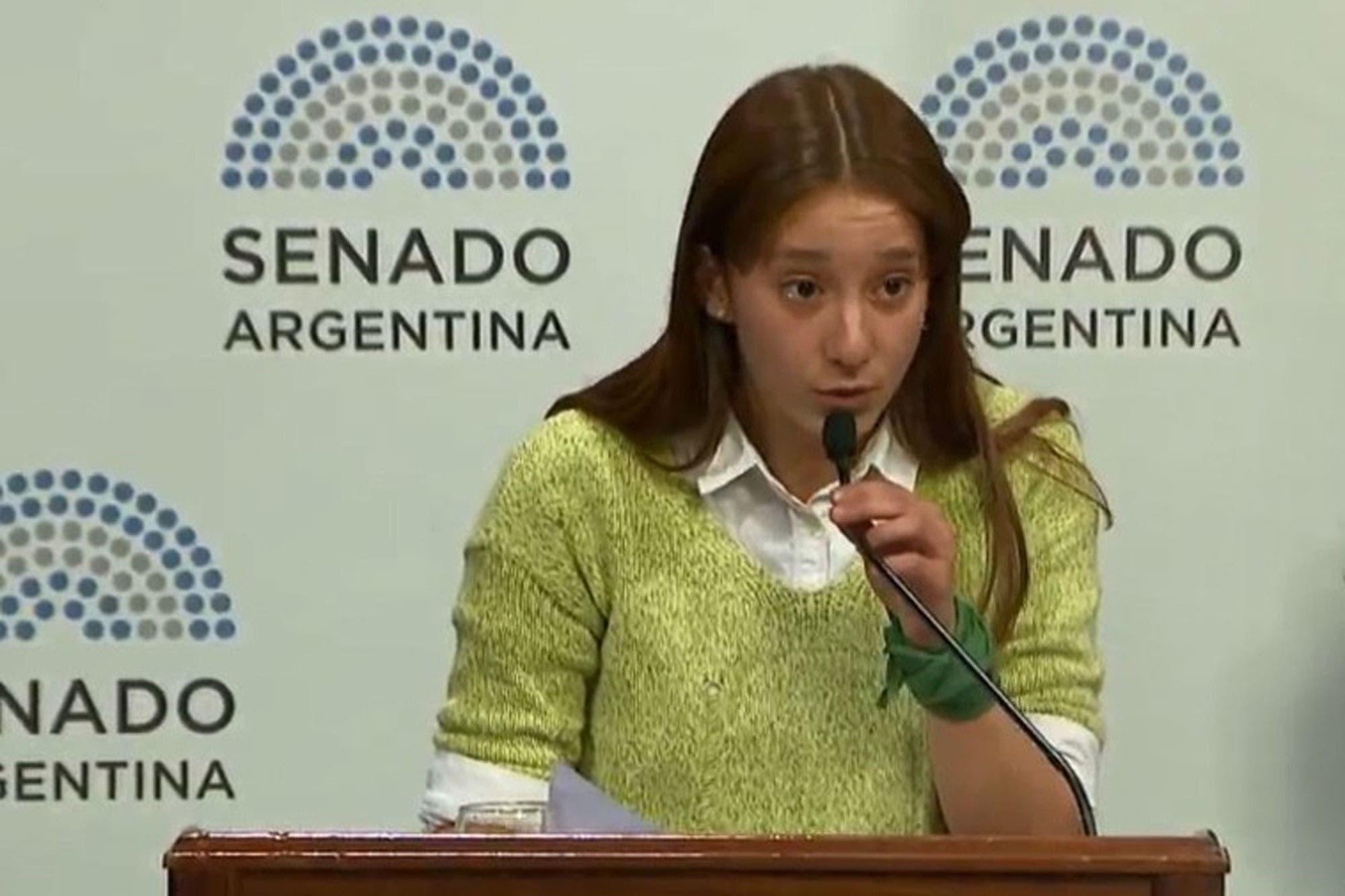 """El discurso de una chica salteña de 16 años en el Senado: """"Quiero denunciar a los que fuerzan a las niñas y mujeres a gestar y maternar"""""""