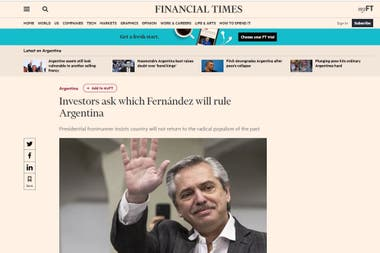 """""""Los inversores se preguntan cuál Fernández gobernará en la Argentina"""" es el título de la nota"""