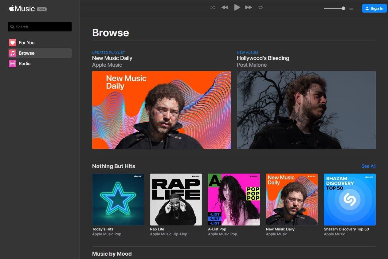 Apple Music: ya está disponible como prueba la versión Web para hacer streaming en el navegador