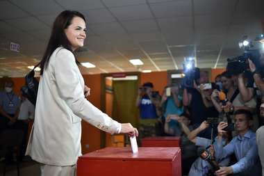 La candidata opositora Svetlana Tikhanovskaïa