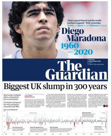 """""""Perdí a un amigo y el mundo perdió a una leyenda"""". La frase de Pelé ilustra la tapa de The Guardian sobre la muerte del astro argentino."""