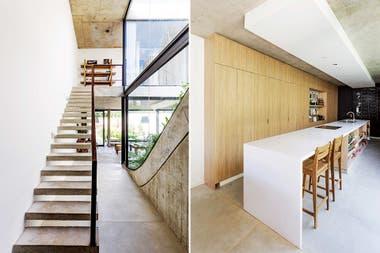 Con bloques de hormigón suspendidos, la escalera se redujo a su mínima expresión, amortizando el espacio Crédito: Jeremías Thomas, gentileza BAM! Arquitectura