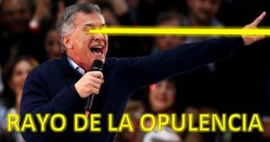 El rayo de la opulencia que surge de los ojos de Mauricio Macri transforma barrios, calles, edificios y diversos lugares de Buenos Aires y del país, en una serie de memes que se volvieron virales en las redes sociales