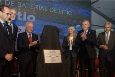 El gobernador de Jujuy, Gerardo Morales durante el acto de presentación de la fábrica de baterías de litio
