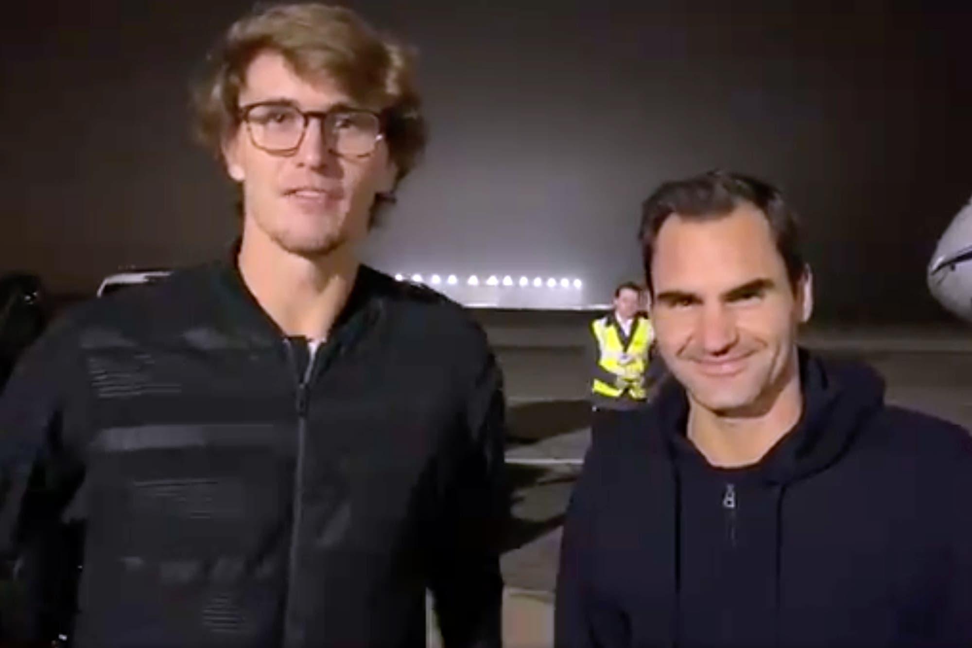 Exhibición en Parque Roca: el video de Roger Federer y Alexander Zverev antes de volar hacia la Argentina