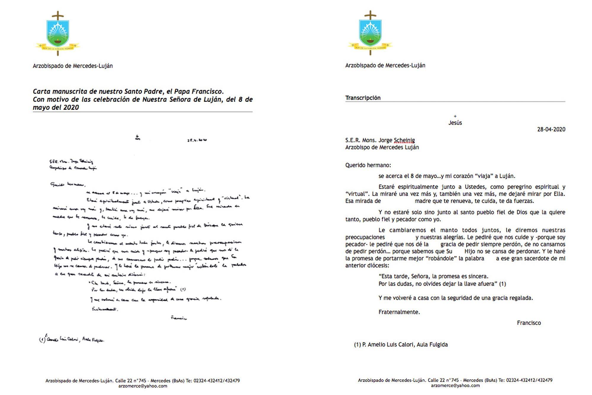 Coronavirus en la Argentina: Francisco envió una carta a los obispos para unirse a la misa por la patria que se hará en Luján