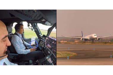 Una vista del momento de despegue autónomo de la aeronave de prueba de Airbus en enero desde el aeropuerto Toulouse-Blagnac, Francia