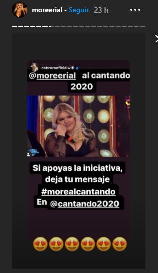 Así reproducía el pedido de apoyo para que la convoquen al Cantando 2020