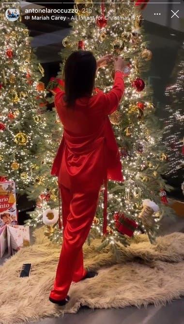 La esposa de Lionel Messi compartió detalles de las decoraciones navideñas de su casa