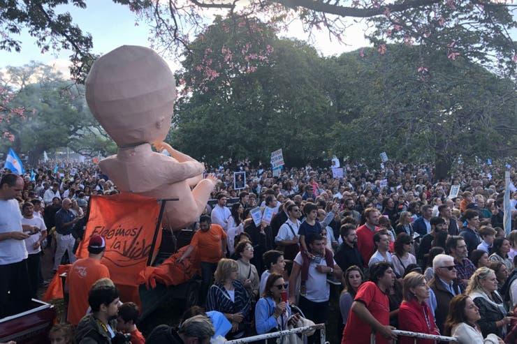 Multitudinaria marcha en Pelermo en contra de la despenalización del aborto