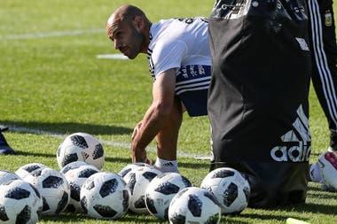 Javier Mascherano, en el entrenamiento del lunes