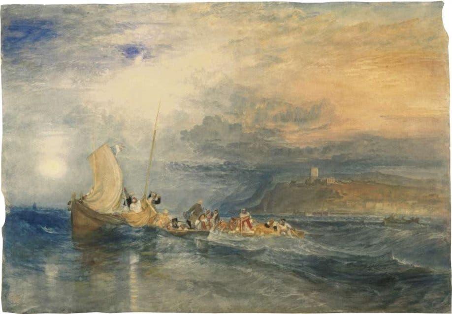 El paisaje, según Turner. Vista a través de la laguna en el crepúsculo, de 1840, una de las acuarelas del pintor inglés que llegarán a fin de septiembre al Museo Nacional de Bellas Artes desde la Tate de Londres.