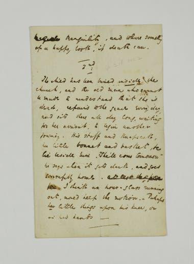 """Carta al ilustrador George Cattermole con motivo de un dibujo sobre la escena de la muerte de la pequeña Nell en """"La tienda de antigüedades"""