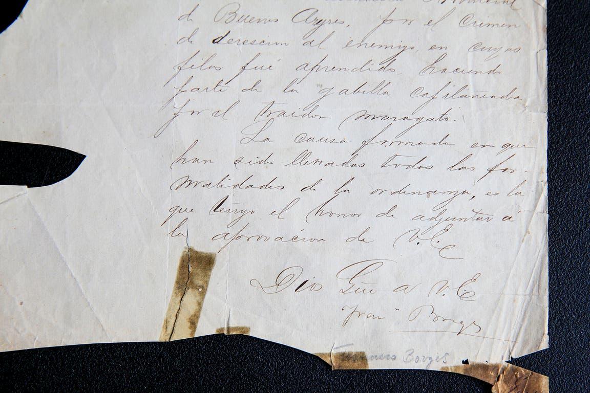 La firma de Francisco Borges en el documento que prueba que pasó por las armas a Silvano Acosta