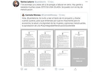 """Yanina Latorre se mostró indignada por la """"ley integral de menstruación sostenible"""", propuesta por Carmela Moreau"""