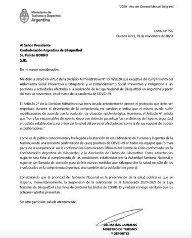 La carta que Matías Lammens firmó y en la que anuncia la suspensión de la Liga