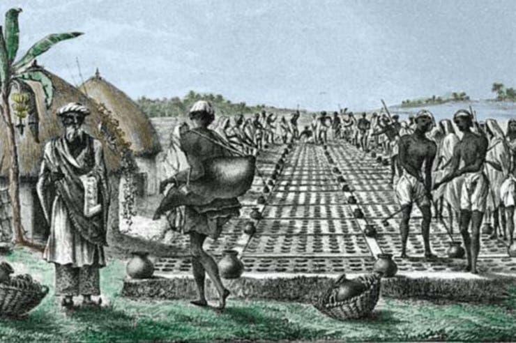 Una de las formas de producir hielo era dejar potes de agua afuera en las noches frías y recoger la fina capa de encima, como muestra esta ilustración de la práctica en Allahabad, India, en 1828 de Fanny Parks.