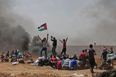 Los palestinos protestan en la Franja de Gaza