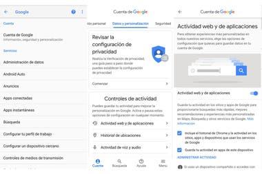 Las opciones de Configuración de la cuenta de Google en Android