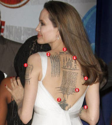 What does meaning of Angelina Jolie's tattoo on back?