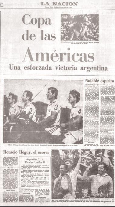 La tapa de LA NACION Deportes luego del primer partido, con victoria por 11-8