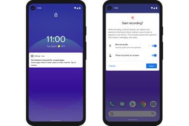 Una notificación para reiniciar los permisos de una app en Android 11, y la herramienta para grabar la interfaz de usuario