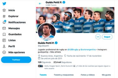La cuenta de Twitter de Guido Petti Pagadizábal, fuente de conflicto para la UAR durante días álgidos a principios de diciembre.