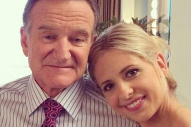 Robin Williams y Sarah Michelle Gellar, en una de las últimas fotos que posteó el actor