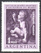 La estampilla con la que el correo argentino agradeció la ayuda internacional para luchar contra la poliomielitis
