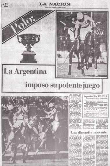 La portada de LA NACION Deportes con motivo de la Copa de las Américas