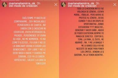 Marianela Mirra publicó una serie de historias donde se mostró furiosa por las comparaciones con Samantha, de Bake Off