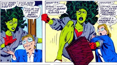 She-Hulk rompiendo la cuarta pared