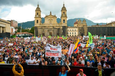 Manifestación en la Plaza Bolívar, en Bogotá