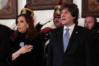 Cristina Kirchner, junto a su vicepresidente, Amado Boudou, a quien le dio la espalda luego de estallado el conflicto por el caso Ciccone
