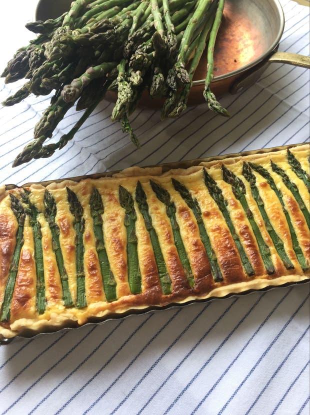 Receta de Tarta ligera de puntas de espárragos verdes