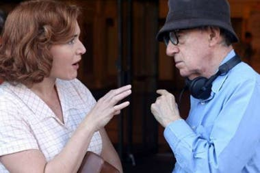 Kate Winslet y Woody Allen en el rodaje de Wonder Wheel
