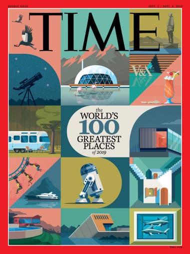 Portada de la revista Time y su lista de 100 lugares recomendados