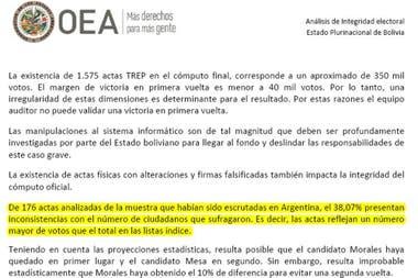 Un lapidario informe de la OEA sobre las elecciones le había ...