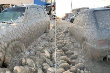 El auto pasó la noche a la intemperie y sufrió las consecuencias del terrible frío polar que afecta la ciudad de Río Grande