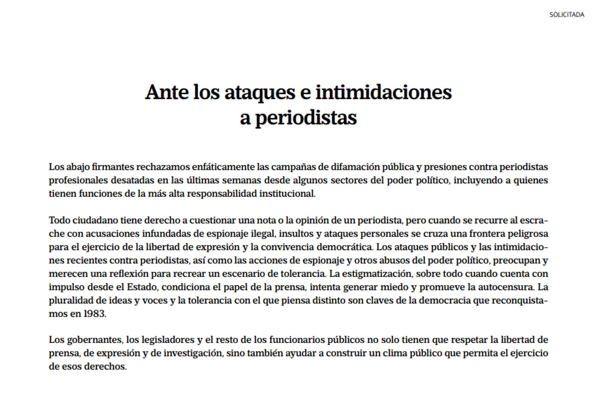Intimidaciones contra la prensa: más de 300 periodistas firmaron una solicitada en los principales diarios del país