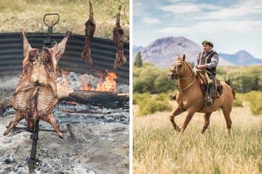 Chivo a la cruz y al hilo, atrás. Don Hugo Bravo, encargado de ganadería.