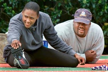 Marion Jones con CJ Hunter, su primera pareja, lanzador de bala y primer entrenador para Sydney 2000