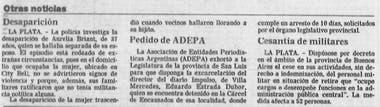 La desaparición de Aurelia Briant llega a los diarios; la primera noticia fue publicada el 13 de julio de 1984