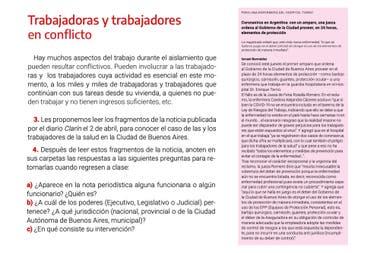 """Los chicos deben leer un artículo sobre la falta de insumos en hospitales de la Ciudad de Buenos Aires como un ejemplo de """"trabajadores en conflicto"""""""