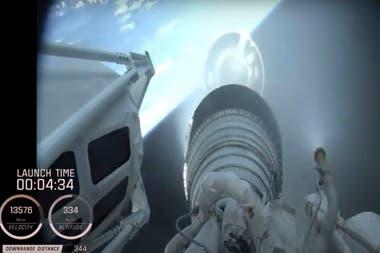 Una captura de video presentada por la NASA sobre el trayecto de Perseverance rumbo a Marte