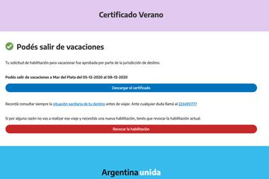 Certiicado Verano, aprobación del permiso para vacacionar en la Costa Altántica