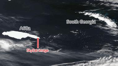 Las imágenes muestran al iceberg, que es casi del tamaño de las islas, acercándose a las Georgias del Sur