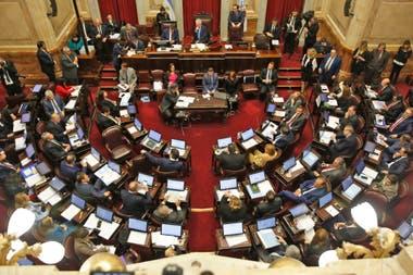 Vista del recinto del Senado durante el debate por la legalización del aborto