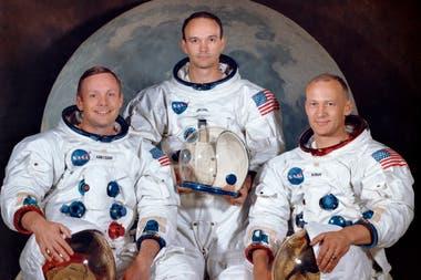 Neil Armstrong, Buzz Aldrin y Michael Collins, el 30 de marzo de 1969