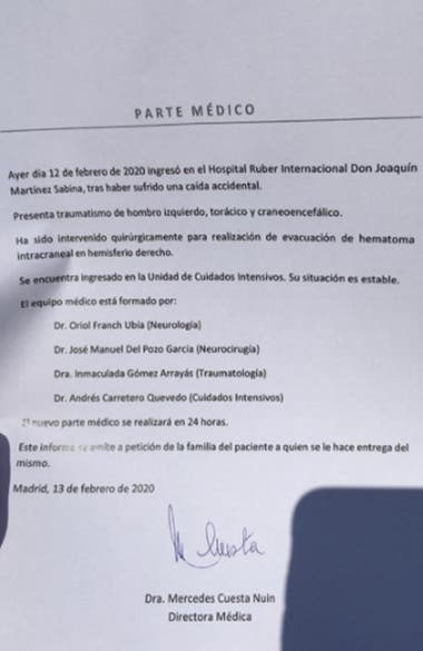 El primer parte médico del estado de salud de Joaquín Sabina